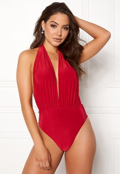 Goddiva Resort Halterneck Swimsuit Red Bubbleroom.no