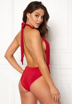 Goddiva Resort Halterneck Swimsuit Red Bubbleroom.no
