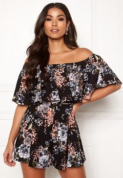 Goddiva Resort Mille Frill Playsuit Black Floral Bubbleroom.no