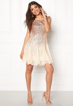 Goddiva Sequin And Chiffon Dress Champagne Bubbleroom.no