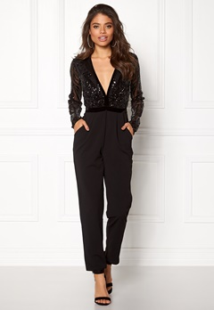 Goddiva Sequin Bodice Jumpsuit Black Bubbleroom.no