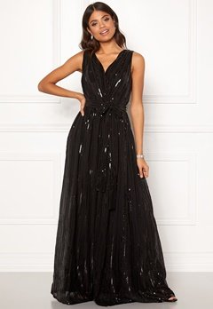 Goddiva Sequin Chiffon Maxi Dress Black Bubbleroom.no