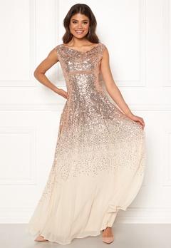 Goddiva Sequin Chiffon Maxi Dress Champagne Bubbleroom.no