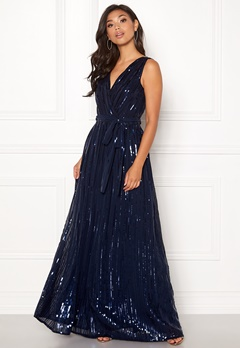 Goddiva Sequin Chiffon Maxi Dress Navy Bubbleroom.no