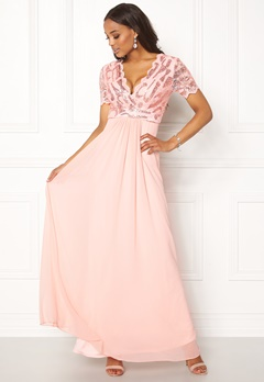 Goddiva Sequin Chiffon Maxi Dress Nude Bubbleroom.no