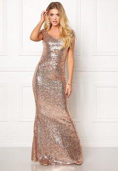 Goddiva Sequin Maxi Dress Champagne Bubbleroom.no