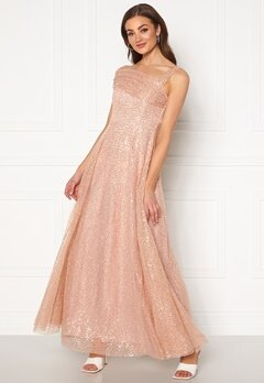 Goddiva Sequin One Shoulder Bardot Maxi Dress Champagne Bubbleroom.no