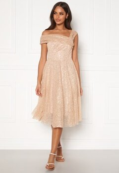 Goddiva Sequin One Shoulder Bardot Midi Dress Champagne Bubbleroom.no