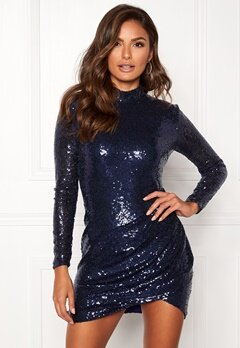 Goddiva Sequin Open Mini Dress Navy Bubbleroom.no