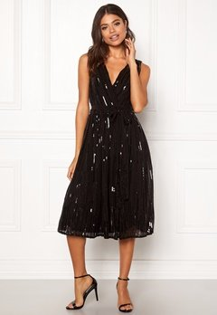 Goddiva Sequin Skater Dress Black Bubbleroom.no