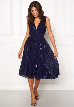 Goddiva Sequin Skater Dress Navy Bubbleroom.no