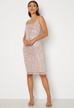 Goddiva Sequin Square Neck Midi Dress Blush Bubbleroom.no
