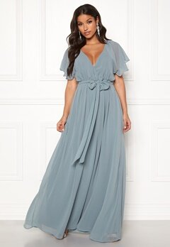 Goddiva Sleeve Chiffon Maxi Dress Air Force Blue Bubbleroom.no
