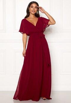 Goddiva Sleeve Chiffon Maxi Dress Berry Bubbleroom.no