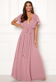 Goddiva Sleeve Chiffon Maxi Dress Lavender Bubbleroom.no