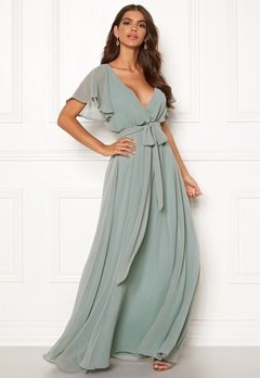96043a0c Goddiva Sleeve Chiffon Maxi Dress Sage Green Bubbleroom.no