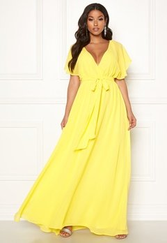 Goddiva Sleeve Chiffon Maxi Dress Soft Lemon Bubbleroom.no