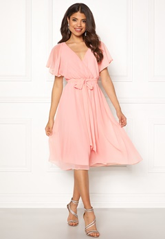 Goddiva Sleeve Chiffon Midi Dress Soft Pink Bubbleroom.no