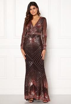 Goddiva Starburst Sequin Dress Black/gold Bubbleroom.no