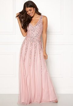 Goddiva Sunray Sequin Maxi Dress Blush Bubbleroom.no