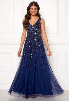 Goddiva Sunray Sequin Maxi Dress Navy Bubbleroom.no