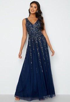 Goddiva Sunray Sequin Maxi Dress Navy bubbleroom.no