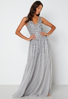 Goddiva Sunray Sequin Maxi Dress silver Bubbleroom.no
