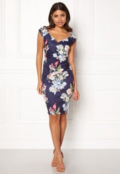 Goddiva Sweetheart Floral Dress Navy Bubbleroom.no