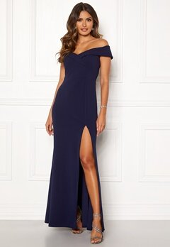 Goddiva Sweetheart Maxi Dress Navy Bubbleroom.no