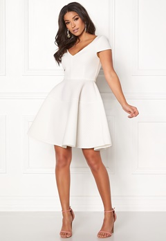 Goddiva Textured Skater Dress White Bubbleroom.no
