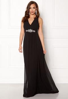 Goddiva V Neck Embellished Dress Black Bubbleroom.no