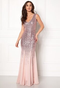Goddiva V Neck Sequin And Chiffon Rose Bubbleroom.no