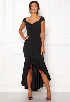 Goddiva Wrap Front Frill Dress Black Bubbleroom.no