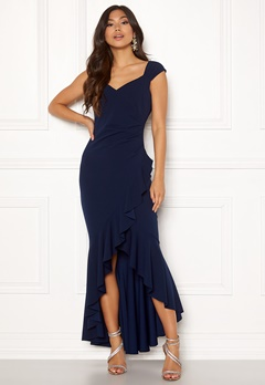 Goddiva Wrap Front Frill Dress Navy Bubbleroom.no