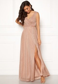Goddiva Wrap Front Maxi Dress Nude Bubbleroom.no