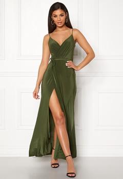 Goddiva Wrap Front Maxi Dress Olive Bubbleroom.no