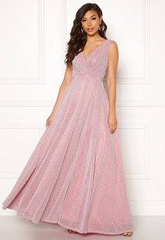 Goddiva Wrap Front Maxi Dress Pink Bubbleroom.no