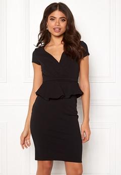 Goddiva Wrap Front Peplum Dress Black Bubbleroom.no