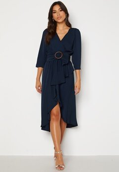 Goddiva Wrap High Low Belted Dress Navy Bubbleroom.no