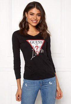 Guess LS VN Icon Tee Jet Black Bubbleroom.no