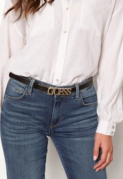 Guess Metal Chain Logo Belt Jet Black Bubbleroom.no