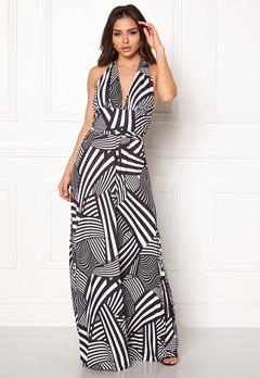 Goddiva Resort Halter Neck Maxi Dress Abstract Stripe Bubbleroom.no