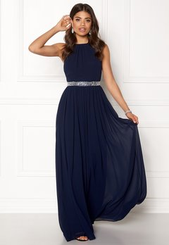 Goddiva Halterneck Chiffon Maxi Dress Navy Bubbleroom.no