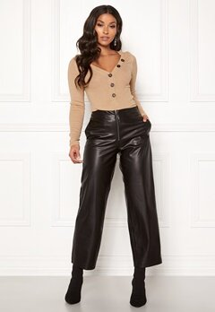 ONLY Hannah Wide Fit PU Pants Black Bubbleroom.no