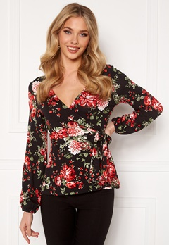 Happy Holly Amanda puff sleeve wrap top Black / Patterned Bubbleroom.no