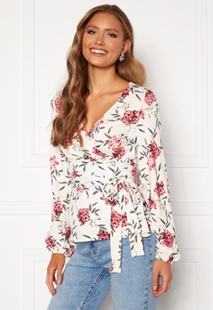 Happy Holly Amanda puff sleeve wrap top White / Floral Bubbleroom.no
