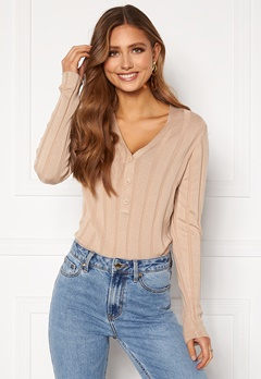 Happy Holly Anabelle Knitted collar Top Beige bubbleroom.no