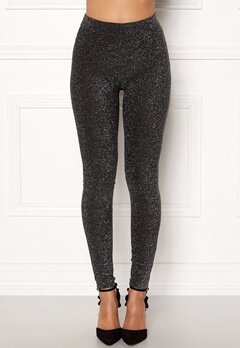 Happy Holly Andrea lurex leggings Black / Silver Bubbleroom.no