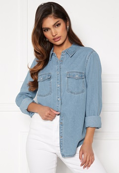 Happy Holly Beatrice denim shirt Light denim Bubbleroom.no