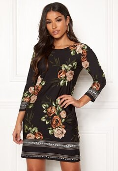 Happy Holly Blenda dress Brown / Floral Bubbleroom.no